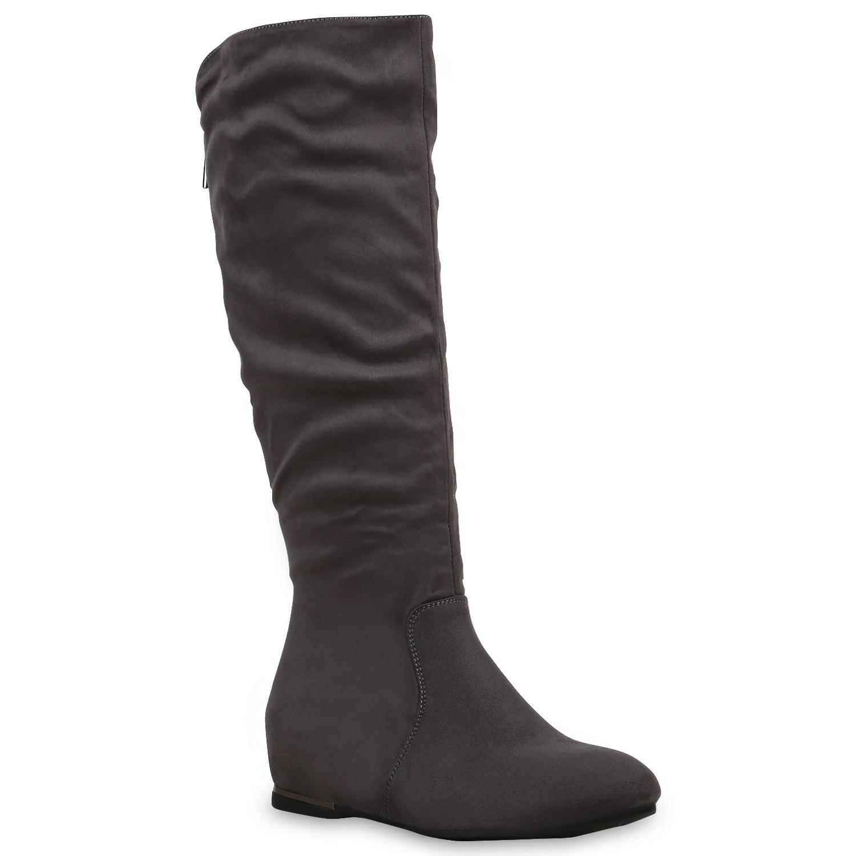 damen stiefel keilabsatz boots lederoptik schuhe 813447 ebay. Black Bedroom Furniture Sets. Home Design Ideas