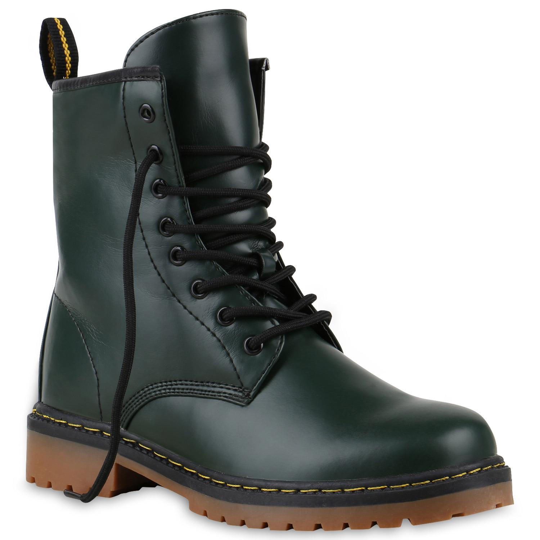 Geschnürte Damen Worker Boots Profil Sohle Punker Stiefeletten 813633 Trendy