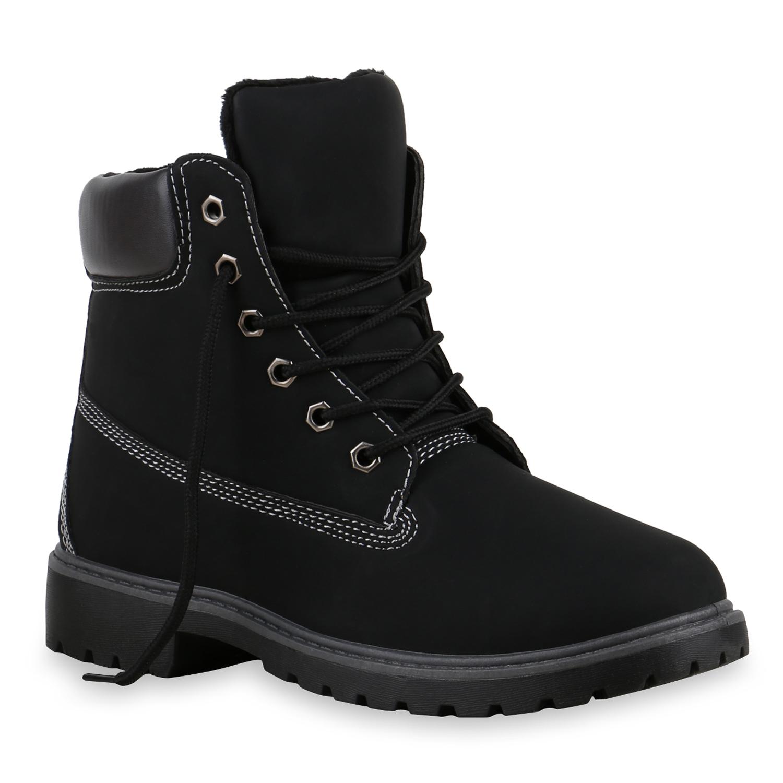 Trendy Stiefeletten Damen Schuhe Boots 8453 Schwarz 40