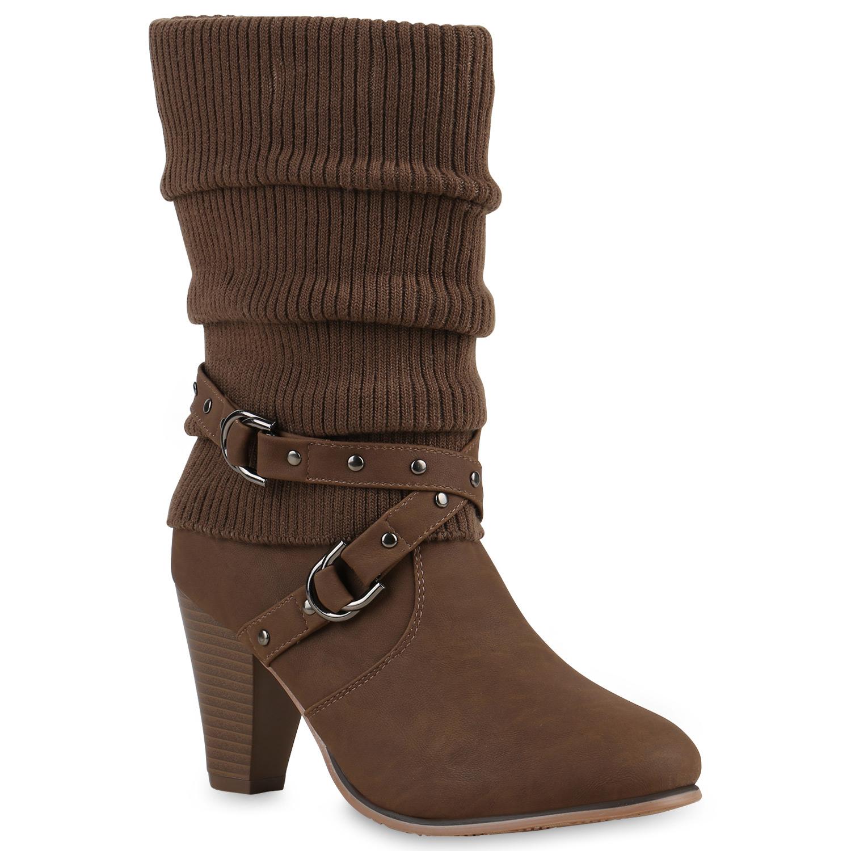 Damen-Stiefel-Strick-Stiefeletten-Gefuettert-98177-Gr-36-41-Schuhe