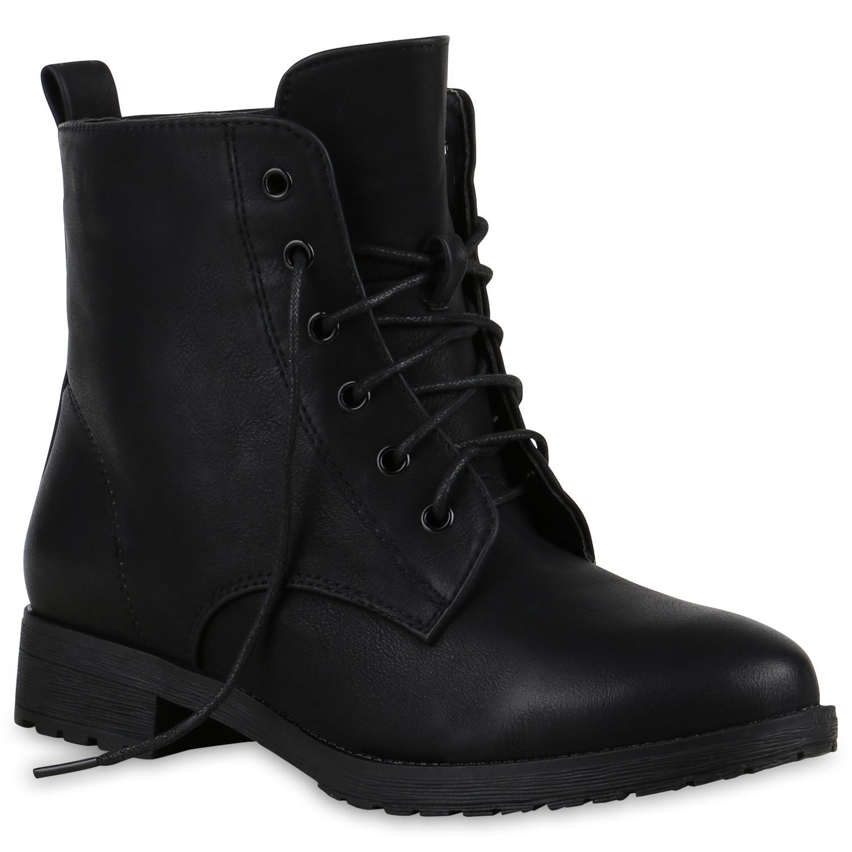 Damen-Stiefeletten-Schnuerstiefeletten-Worker-Boots-813811-Schuhe
