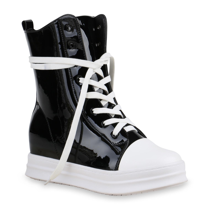 damen sneakers keilabsatz high top sneaker wedges lack metallic 813826 top ebay. Black Bedroom Furniture Sets. Home Design Ideas
