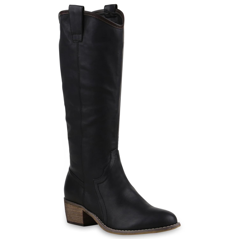 damen cowboy stiefel langschaft western boots lederoptik. Black Bedroom Furniture Sets. Home Design Ideas