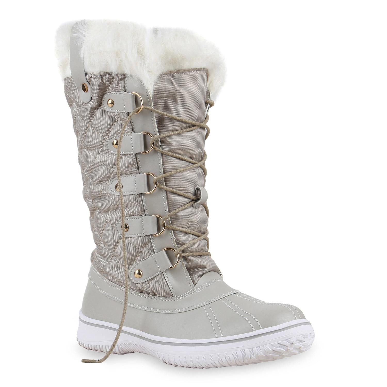 warm gef tterte damen stiefel winterstiefel snow boots waterproof 814081 schuhe ebay. Black Bedroom Furniture Sets. Home Design Ideas