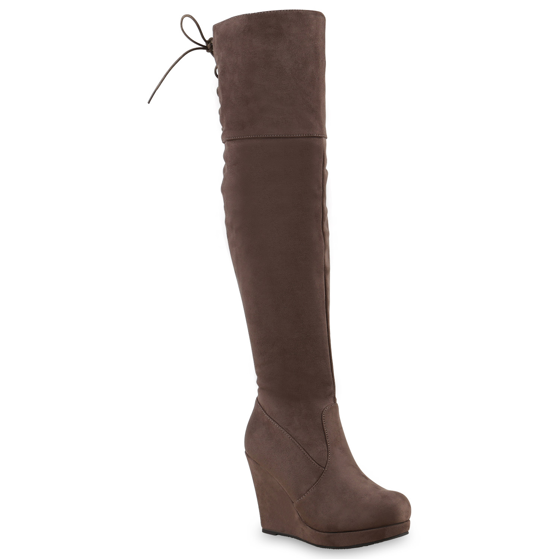 Gef tterte Damen Overknees Plateau Wedges Stiefel Keil Absatz 812263 Schuhe