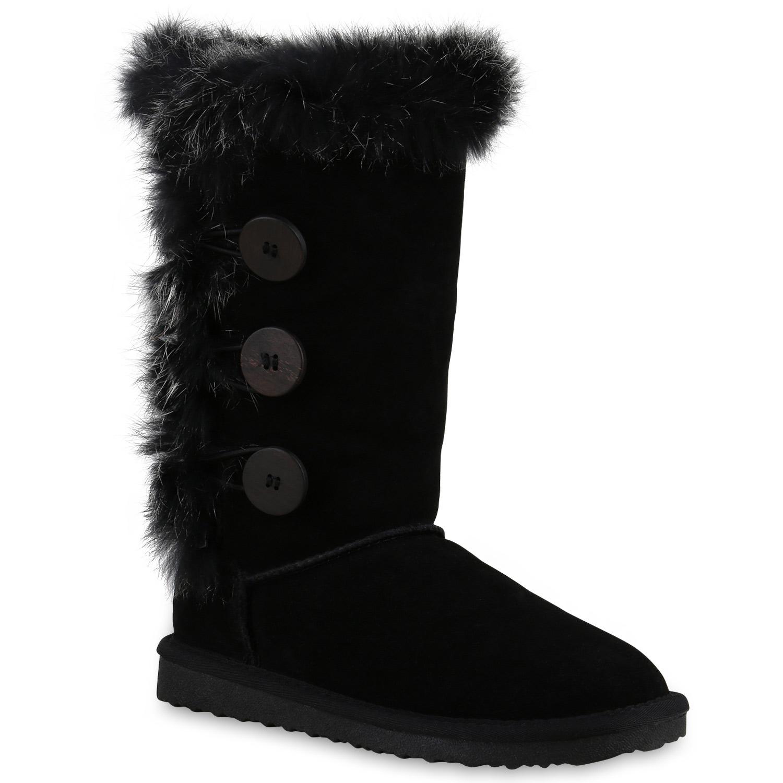 2752e3ad6336 Warm Gefütterte Damen Stiefel Leder Schlupfstiefel Boots Fell 814141 Schuhe