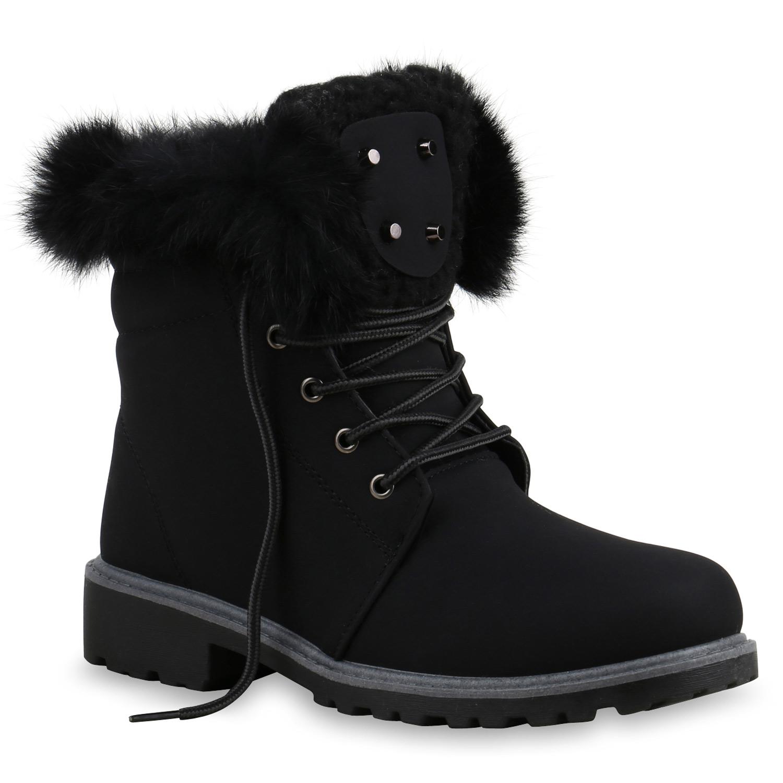 warm gef tterte damen stiefeletten fell outdoor boots winterschuhe 813823 schuhe ebay. Black Bedroom Furniture Sets. Home Design Ideas