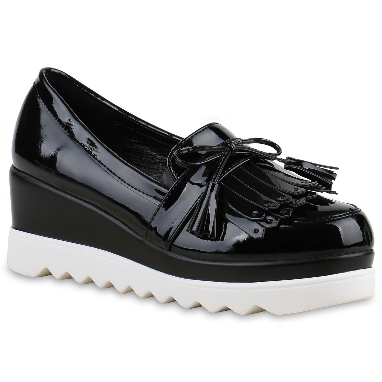 Funky Damen Slipper Lack Profilsohle Plateau Loafers Lack 814190 Schuhe af83845d34