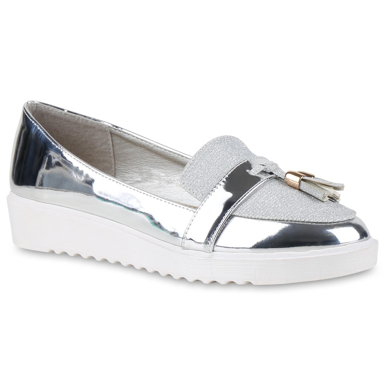 Damen Loafers Dandy Quasten Glitzer Slipper Profilsohle 814360 Dandy Loafers Geek  zapatos 93402c