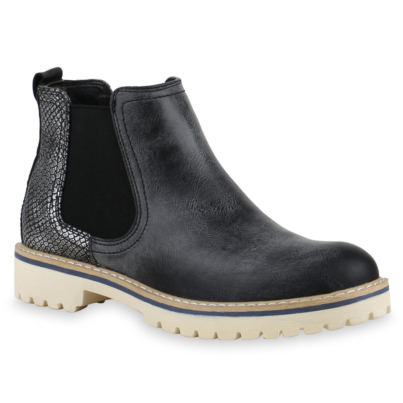 damen stiefeletten chelsea boots metallic profilsohle. Black Bedroom Furniture Sets. Home Design Ideas