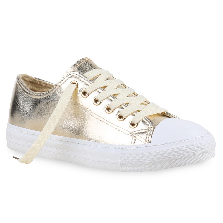sneakers low damen metallic turnschuhe wei e sohle flats 814472 ebay. Black Bedroom Furniture Sets. Home Design Ideas