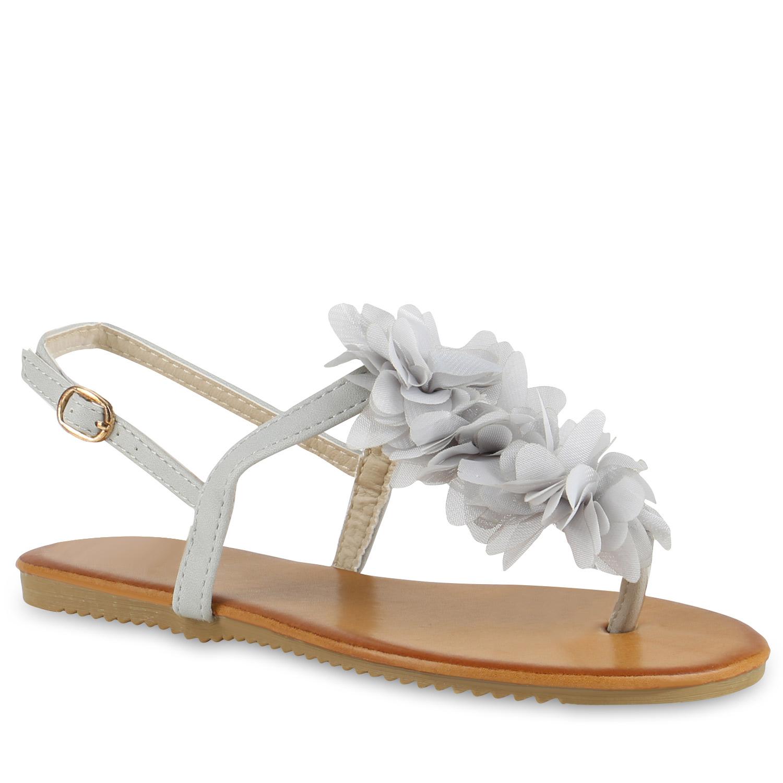 modische damen sandalen blumen zehentrenner sommer schuhe 810035 mode ebay. Black Bedroom Furniture Sets. Home Design Ideas