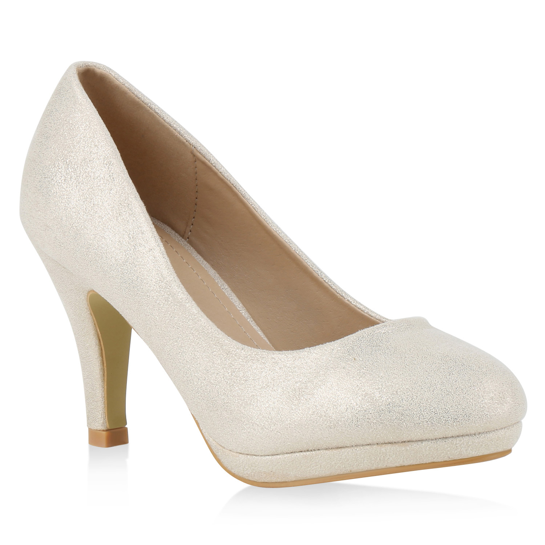 damen pumps glitzer metallic high heels party 814669 schuhe ebay. Black Bedroom Furniture Sets. Home Design Ideas