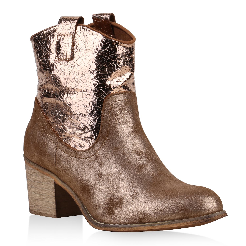damen stiefeletten metallic glitzer cowboy boots western stiefel 814929 schuhe ebay. Black Bedroom Furniture Sets. Home Design Ideas