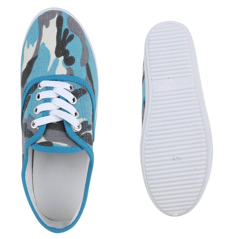 damen schuhe 132383 sneakers camouflage blau 40 new ebay. Black Bedroom Furniture Sets. Home Design Ideas