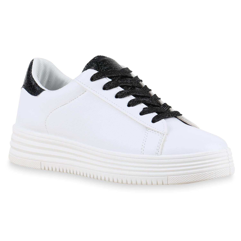 3d596c7c5fe0a5 Plateau Sneaker Damen Weiße Sneakers Metallic Glitzer 90 s 815002 Schuhe