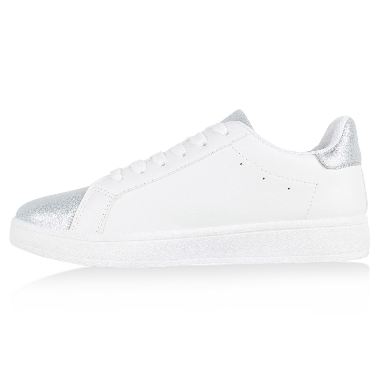 0208da5f296c77 Sneakers Low Damen Glitzer Weiße Turnschuhe Metallic Sterne 815020 Schuhe
