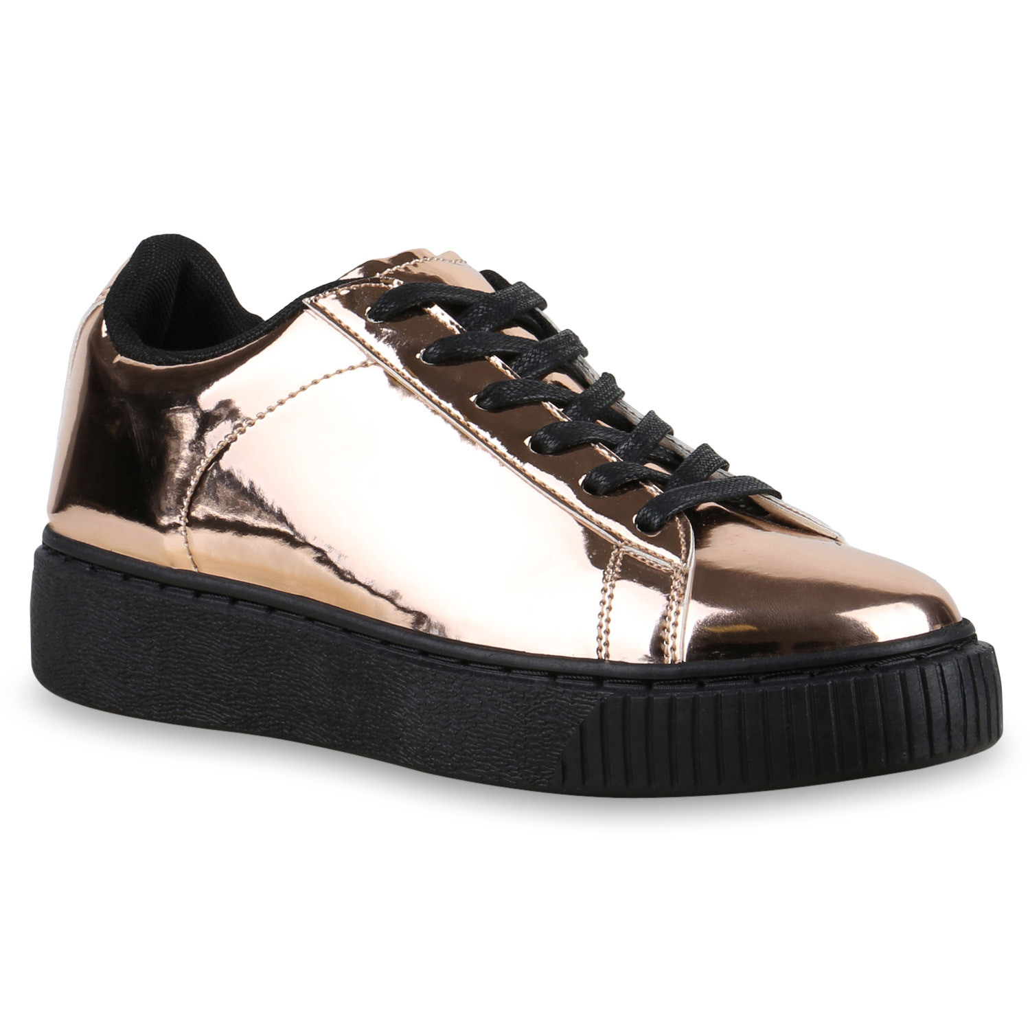 plateau sneaker damen lack turnschuhe metallic sneakers 815022 schuhe ebay. Black Bedroom Furniture Sets. Home Design Ideas