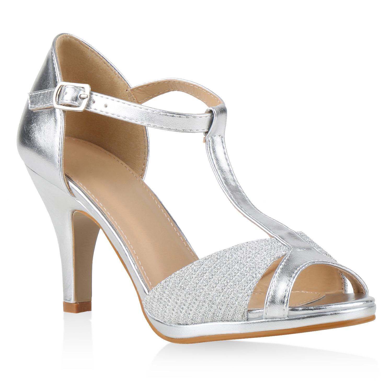 damen party sandaletten glitzer high heels t strap 815227. Black Bedroom Furniture Sets. Home Design Ideas