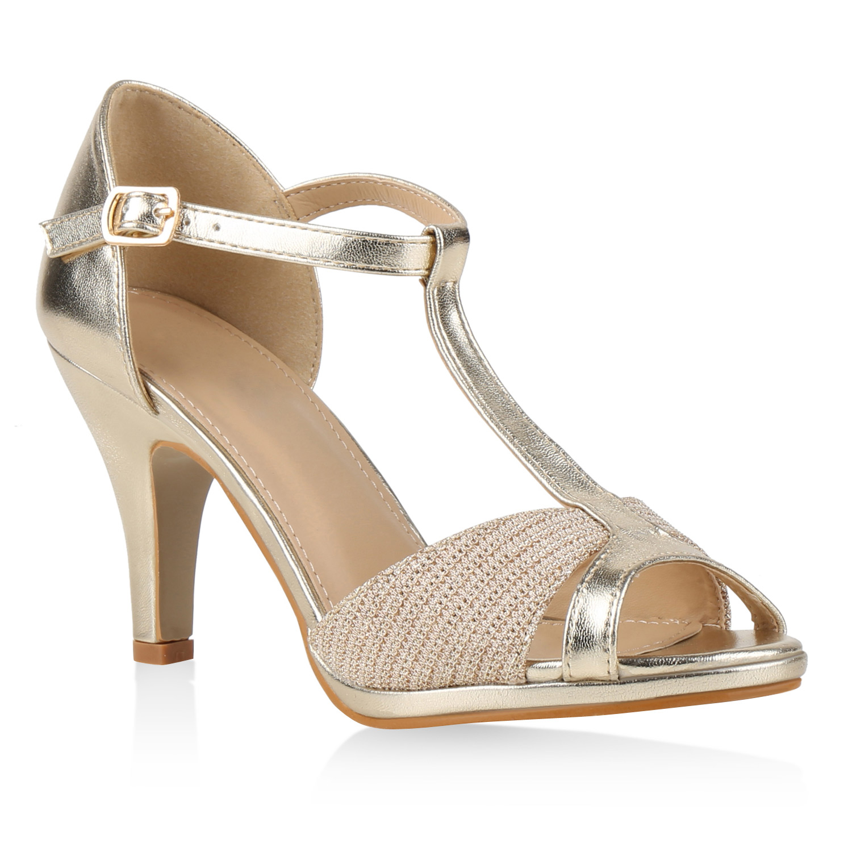 damen party sandaletten glitzer high heels t strap 815227 schuhe ebay. Black Bedroom Furniture Sets. Home Design Ideas