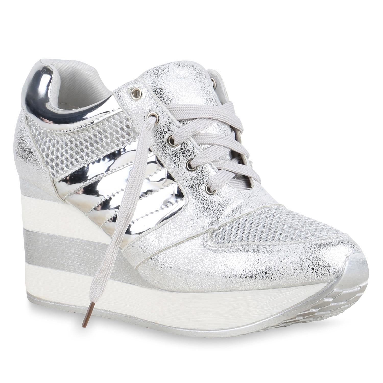 a5c85838c46d Damen Sneakers Lack Glitzer Metallic Sneaker-Wedges Keilabsatz ...