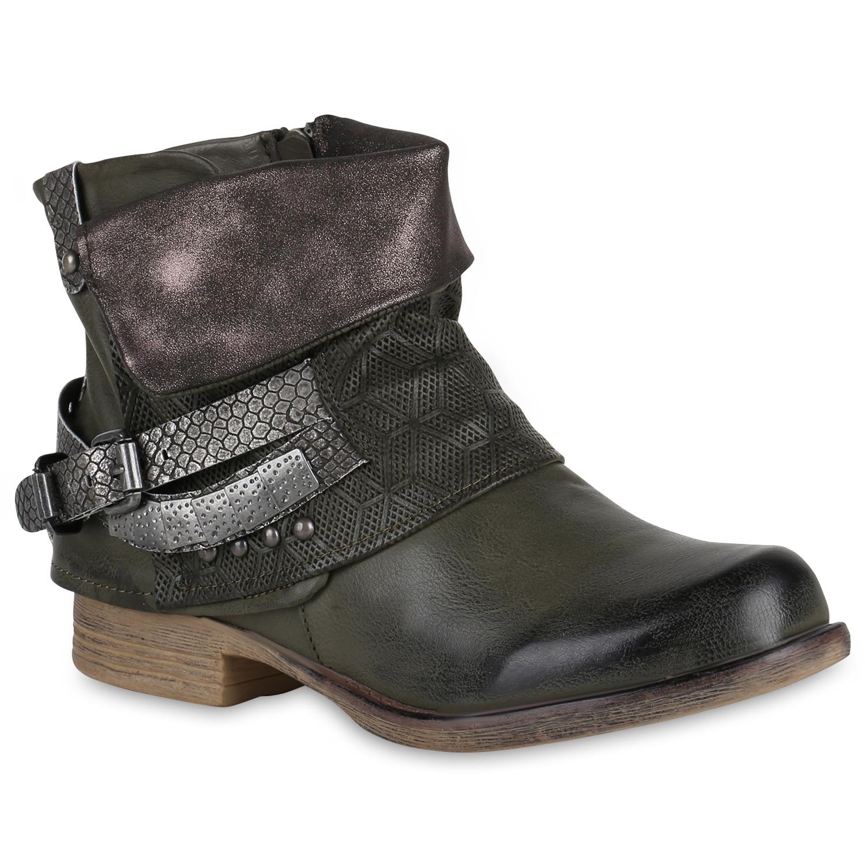 damen biker boots used look stiefeletten nieten schuhe. Black Bedroom Furniture Sets. Home Design Ideas