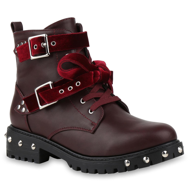 Damen-Biker-Boots-Schnuerstiefel-Schnallen-Nieten-Stiefeletten-815708-Top