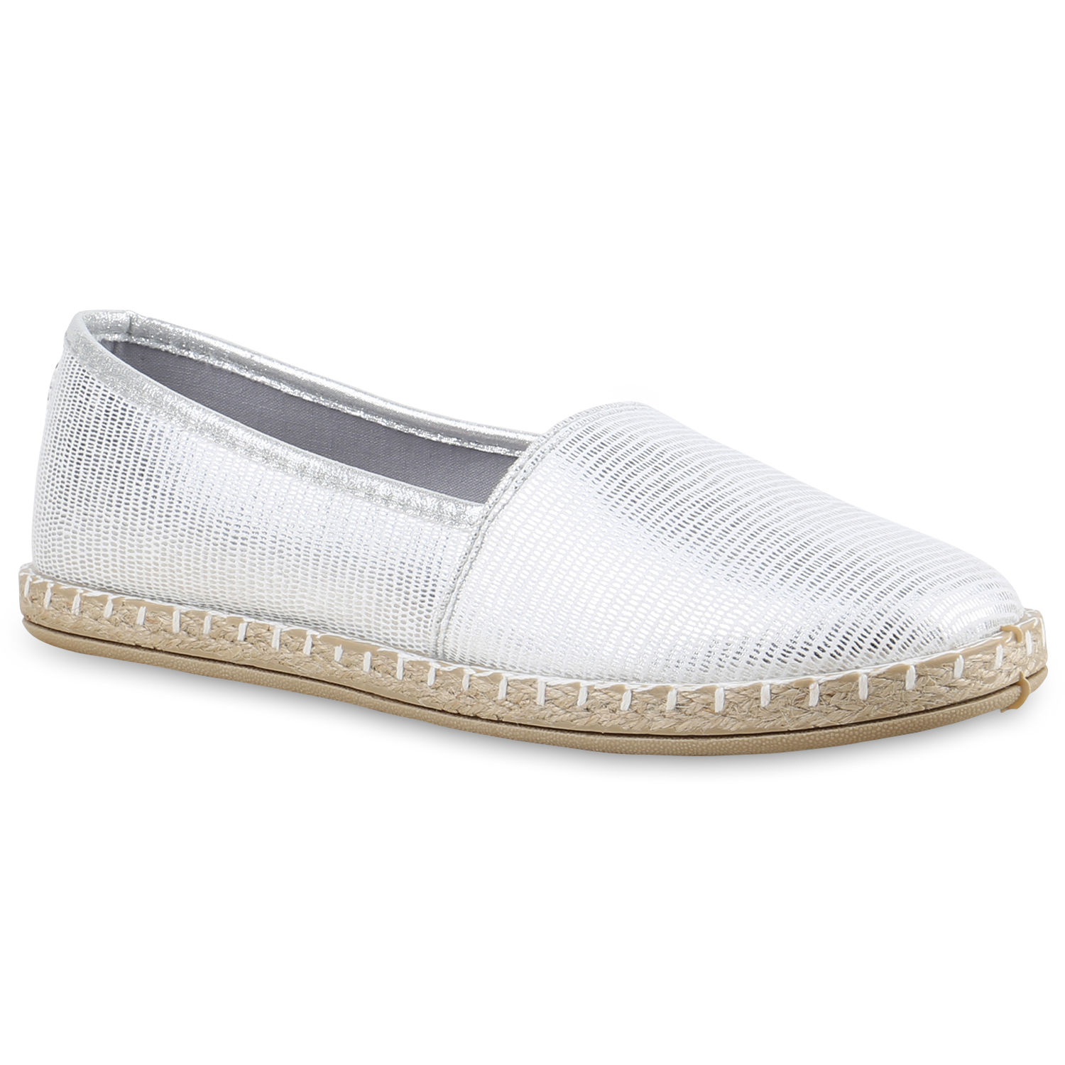 damen slipper espadrilles schuhe flats metallic glitzer slipper 815741 mode ebay. Black Bedroom Furniture Sets. Home Design Ideas