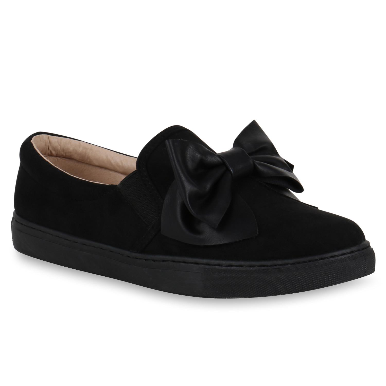 damen slipper sneakers slip ons lederoptik schleifen. Black Bedroom Furniture Sets. Home Design Ideas