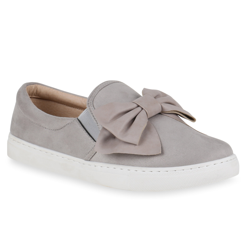Damen Slipper Sneakers Slip-ons Lederoptik Schuhe Schleifen 815784 Trendy
