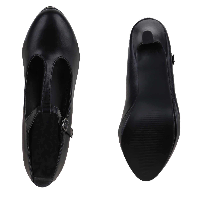 modische damen pumps mary janes t strap midi heels. Black Bedroom Furniture Sets. Home Design Ideas
