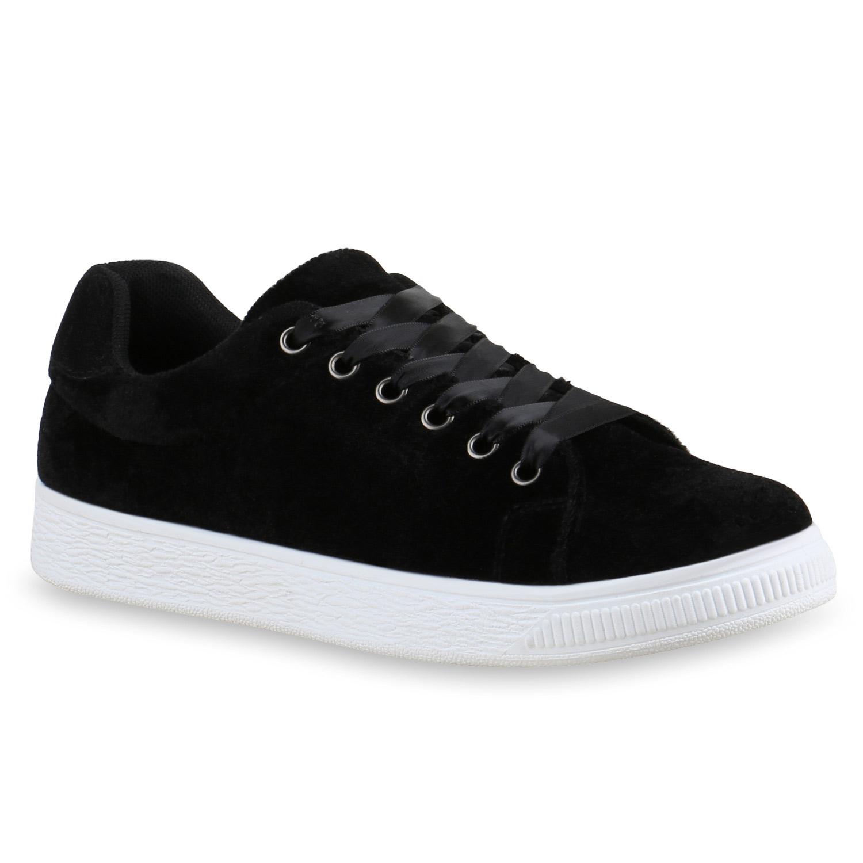 Modische Damen Sneakers Low Samtoptik Satin Schnürsenkel 816153 Schuhe