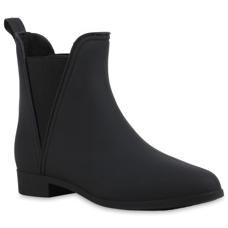 Damen Lack Stiefeletten Gummistiefel Chelsea Boots 99655 Gr. 36 41 Schuhe