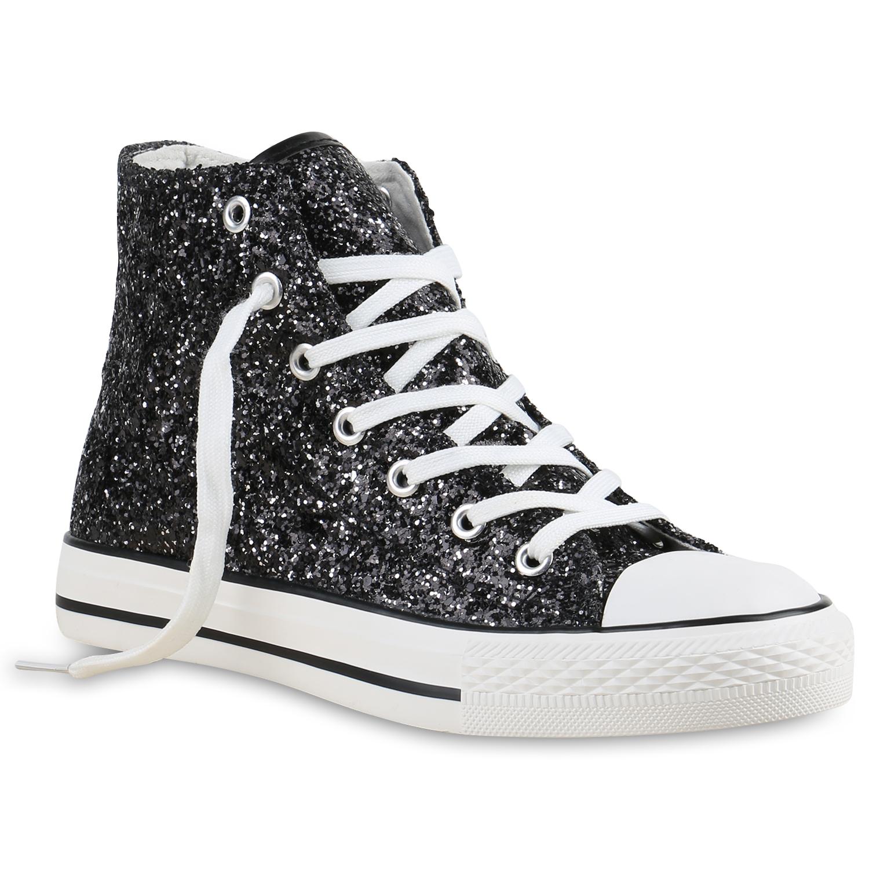 wei e damen sneakers high freizeit glitzer turnschuh sportliche schuhe 79445 ebay. Black Bedroom Furniture Sets. Home Design Ideas