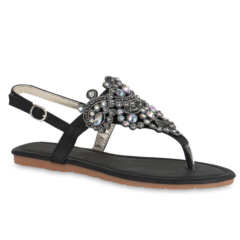 damen sandalen dianetten strass glitzer zehentrenner flats schuhe 816872 top ebay. Black Bedroom Furniture Sets. Home Design Ideas