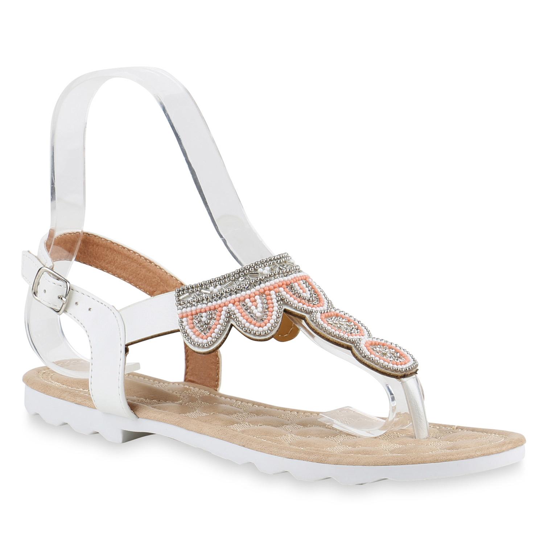 zehentrenner damen perlen strass sandalen sommer schuhe 816940 ebay. Black Bedroom Furniture Sets. Home Design Ideas