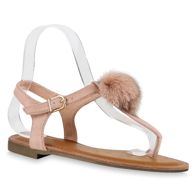 damen zehentrenner fell pom poms sommer sandalen. Black Bedroom Furniture Sets. Home Design Ideas