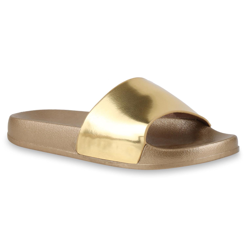 Damen-Komfort-Sandalen-Pantoletten-Schlappen-Lack-Metallic-817148-Schuhe