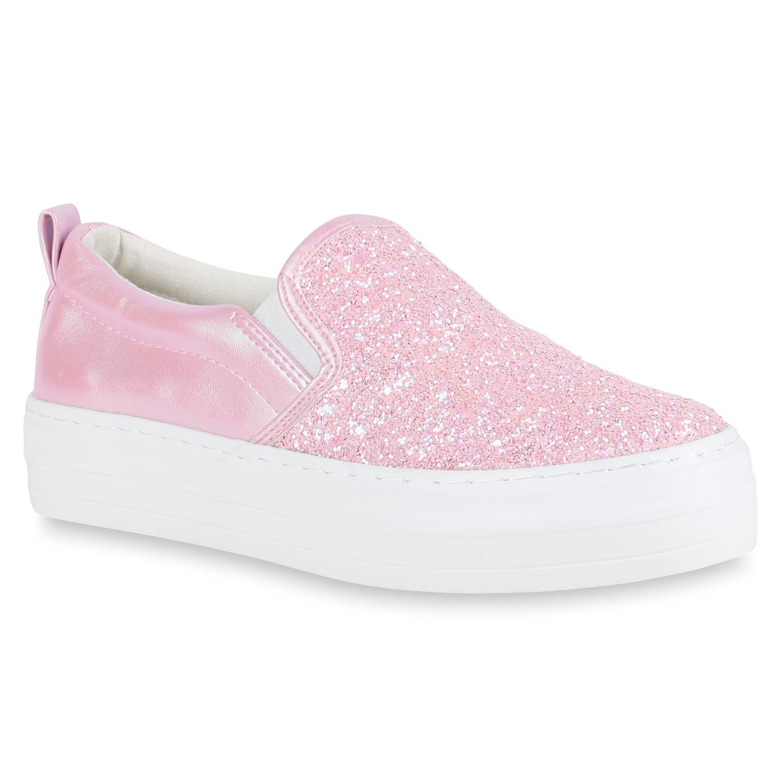 Damen Plateau Glitzer Slip-ons Sneakers Modische Slipper 811062 Top