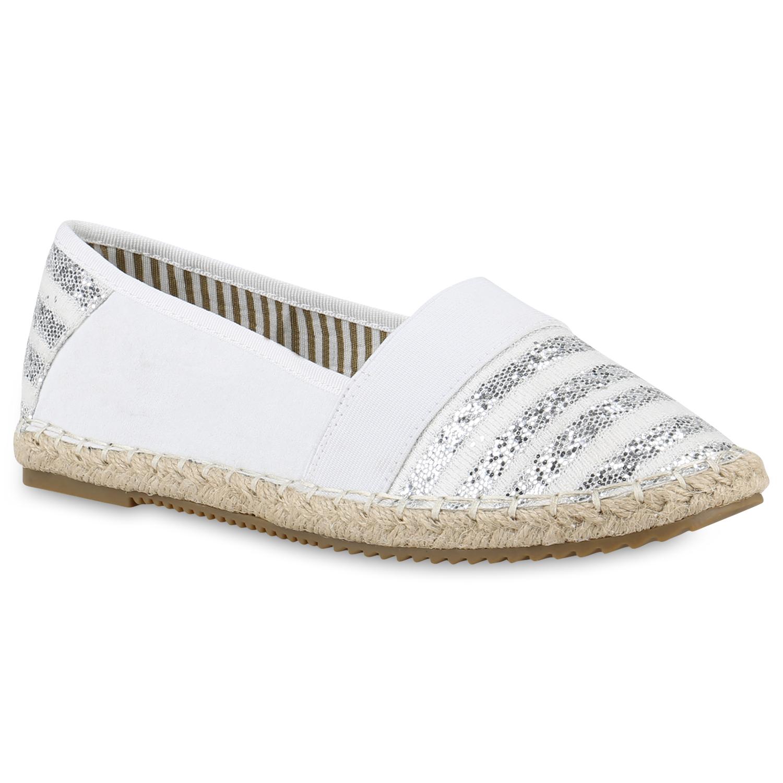 Damen Bast Espadrilles Glitzer  Streifen Slipper Flats 810874  Glitzer zapatos 82a263