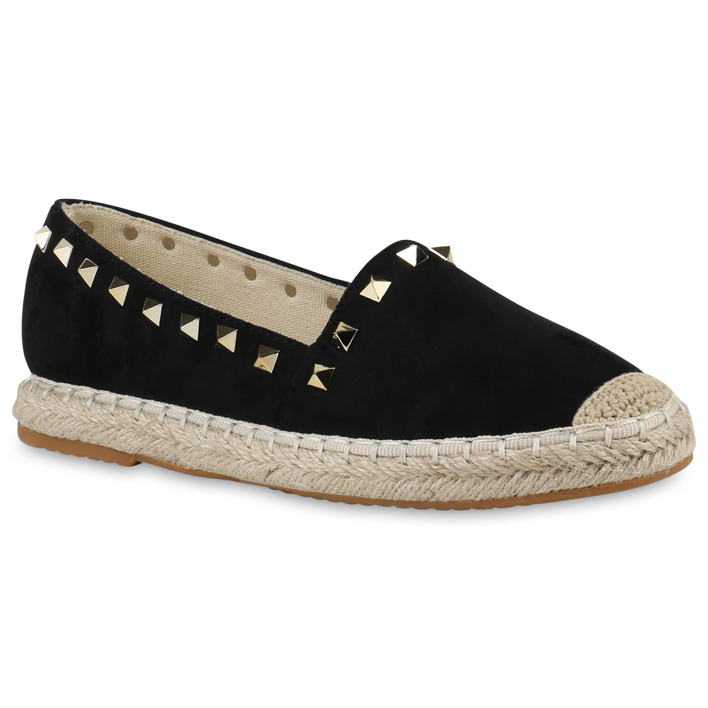 Damen Espadrilles Bast Nieten 817268 Slipper Sommer zapatos  Lederoptik 817268 Nieten Top 465ac9