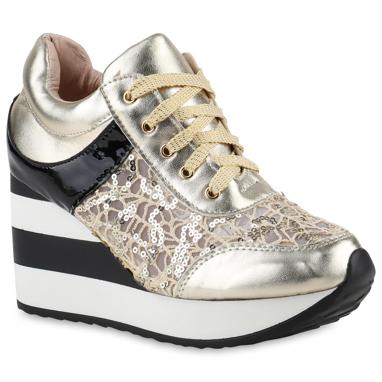 damen sneakers plateau schuhe spitze plateau sneaker lack 817505 ebay. Black Bedroom Furniture Sets. Home Design Ideas
