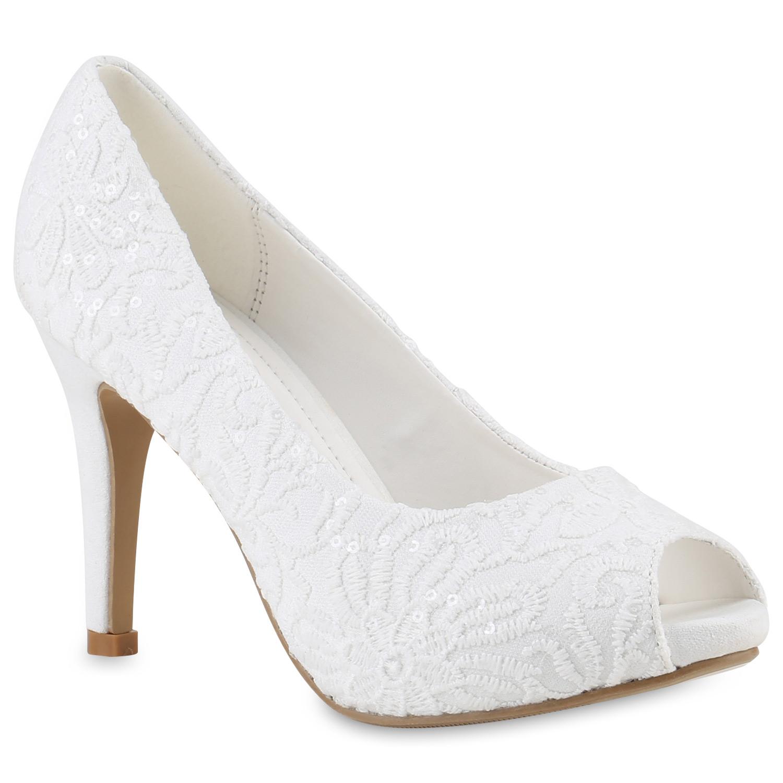 Damen Brautschuhe Klassische Pumps Stickereien Vorne Offen 817534 Schuhe