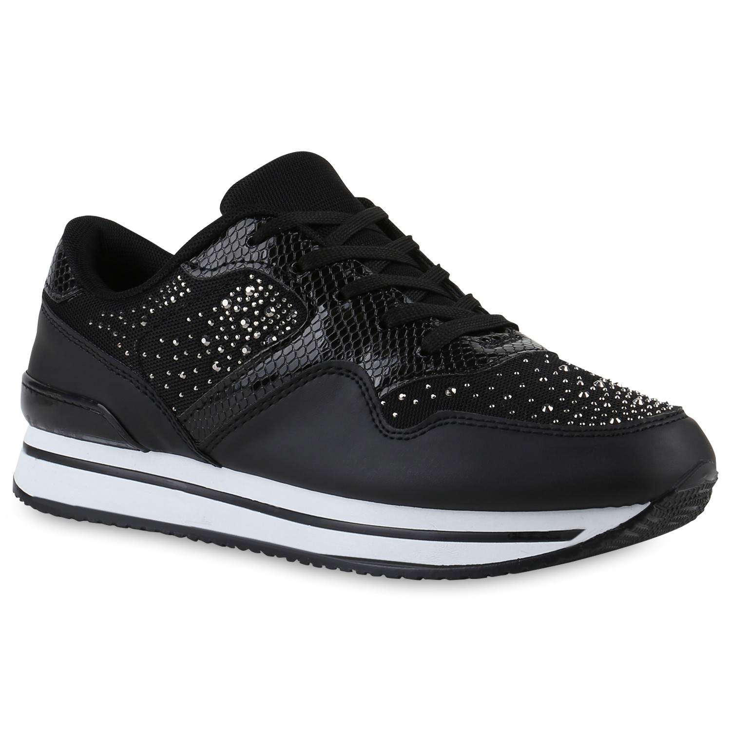 damen plateau sneaker lack strass snake bequeme. Black Bedroom Furniture Sets. Home Design Ideas