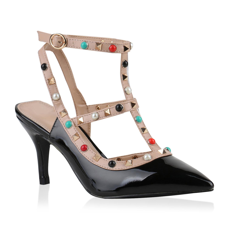 Damen Spitze Slingpumps Lack Nieten Elegante 817653 Schuhe