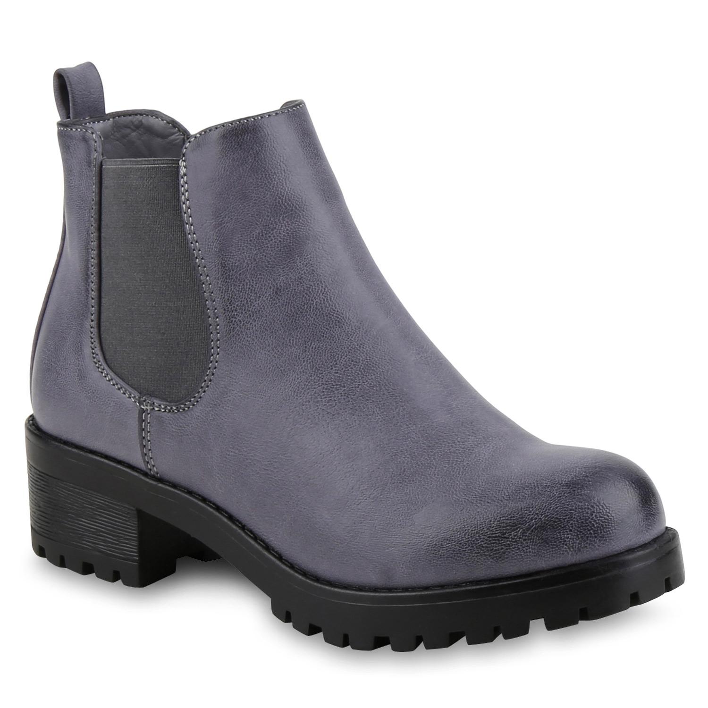 gef tterte damen chelsea boots plateau stiefeletten profilsohle 812331 mode ebay. Black Bedroom Furniture Sets. Home Design Ideas