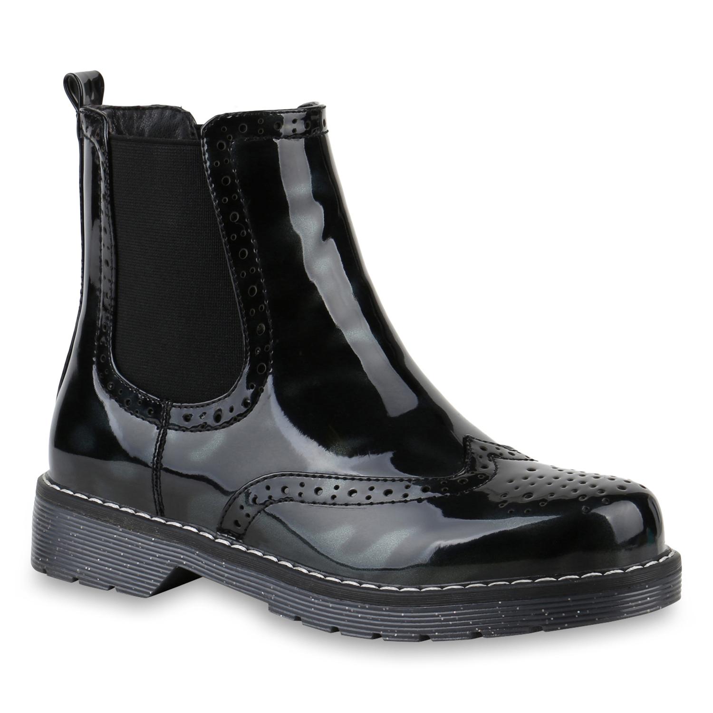 adf424eb6605fa Damen Stiefeletten Chelsea Boots Lack Leicht Gefütterte 818242 Schuhe