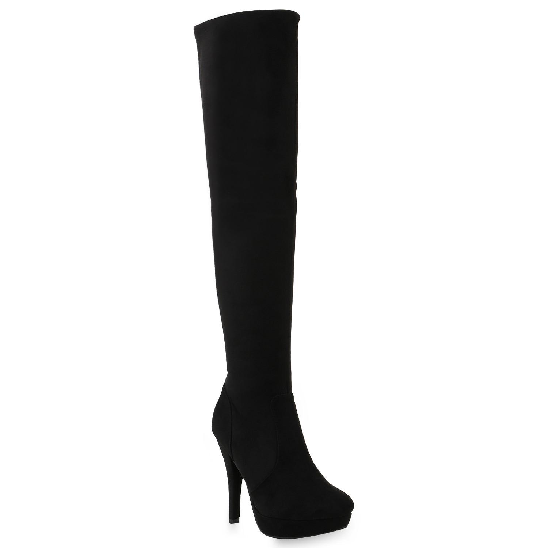 Damen-Stiefel-Leicht-Gefuettert-Plateaustiefel-Overknees-High-Heels-818258-Schuhe