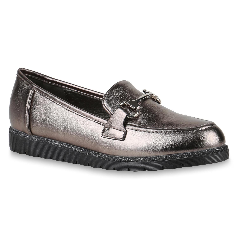 Damen Slipper Loafers Trendy Slip-Ons Flache 891912 Schuhe