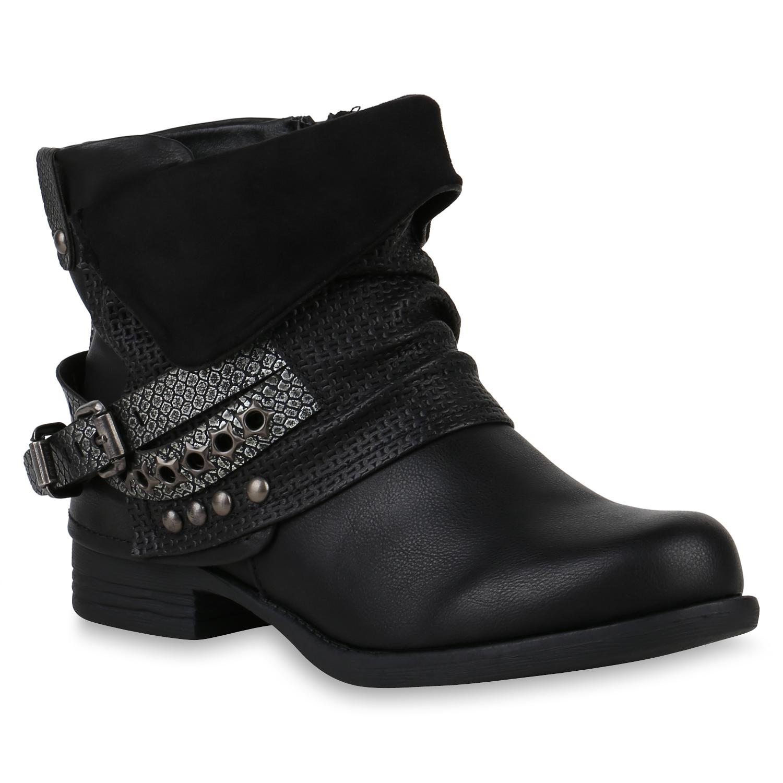 damen biker boots warm gef tterte stiefel nieten stiefeletten 820097 schuhe ebay. Black Bedroom Furniture Sets. Home Design Ideas
